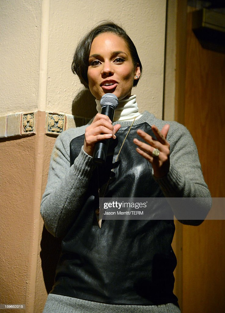 Singer Alicia Keys making a surprise appearance at a volunteer screening of 'The Inevitable Defeat of Mister and Pete' during the 2013 Sundance Film Festival at Library Center Theater on January 17, 2013 in Park City, Utah.