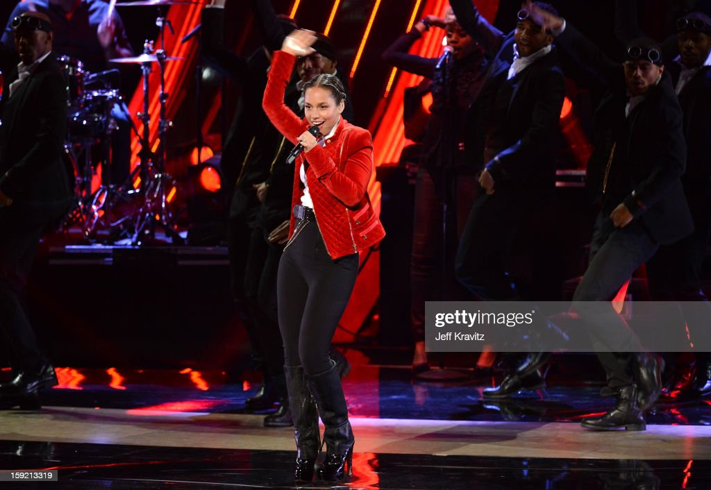 Singer Alicia Keys onstage during the 2013 People's Choice Awards at Nokia Theatre L.A. Live on January 9, 2013 in Los Angeles, California.