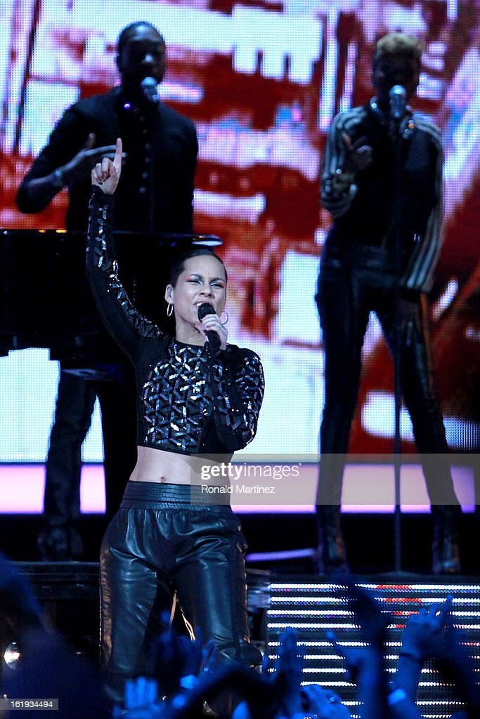 Singer Alicia Keys performs at half time the 2013 NBA All-Star game at the Toyota Center on February 17, 2013 in Houston, Texas.