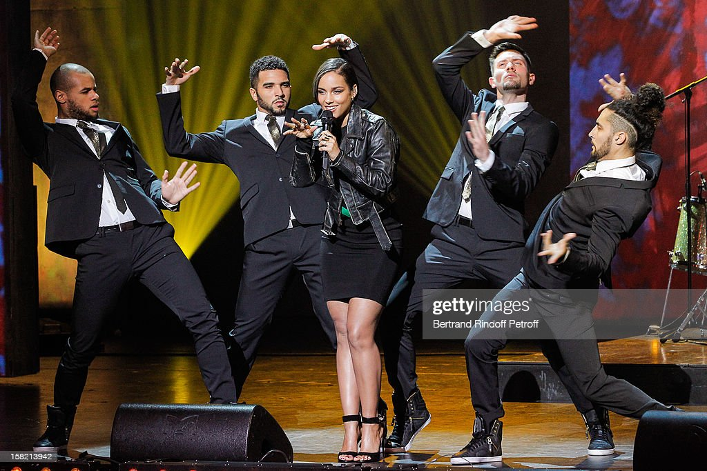 Singer <a gi-track='captionPersonalityLinkClicked' href=/galleries/search?phrase=Alicia+Keys&family=editorial&specificpeople=169877 ng-click='$event.stopPropagation()'>Alicia Keys</a> performs during 'La Chanson De L'Annee 2012' Show Recording at Palais des Sports on December 10, 2012 in Paris, France.