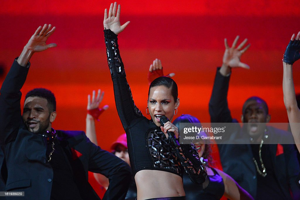 Singer Alicia Keys performs during the 2013 NBA All-Star Game on February 17, 2013 at the Toyota Center in Houston, Texas.