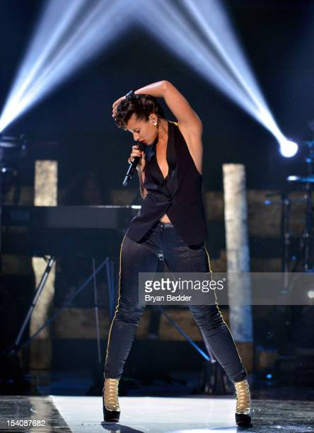 Singer Alicia Keys performs onstage at BET's Black Girls Rock 2012 at Paradise Theater on October 13 2012 in New York City