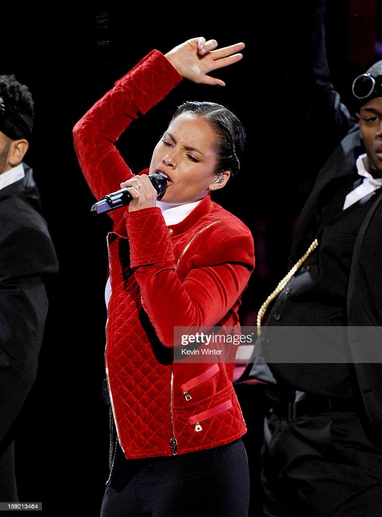 Singer Alicia Keys performs onstage at the 39th Annual People's Choice Awards at Nokia Theatre L.A. Live on January 9, 2013 in Los Angeles, California.