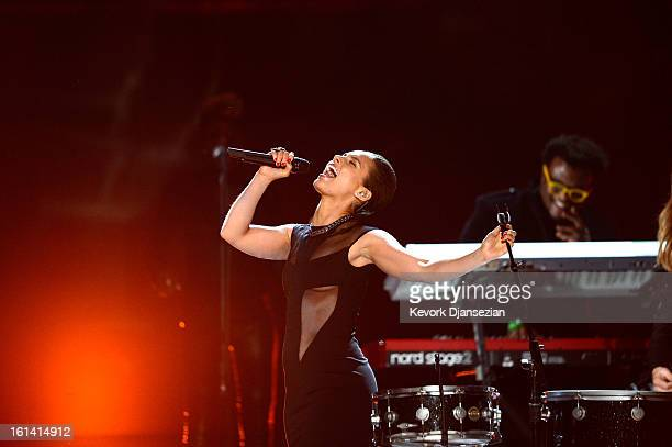 Singer Alicia Keys performs onstage at the 55th Annual GRAMMY Awards at Staples Center on February 10 2013 in Los Angeles California