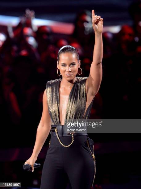 Singer Alicia Keys performs onstage during the 2012 MTV Video Music Awards at Staples Center on September 6 2012 in Los Angeles California