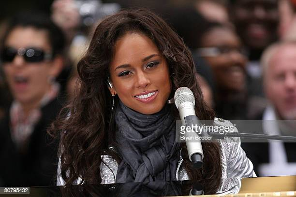 Singer Alicia Keys performs onstage during the NBC's 'Today' Show concert series at Rockefeller Center on April 21 2008 in New York City