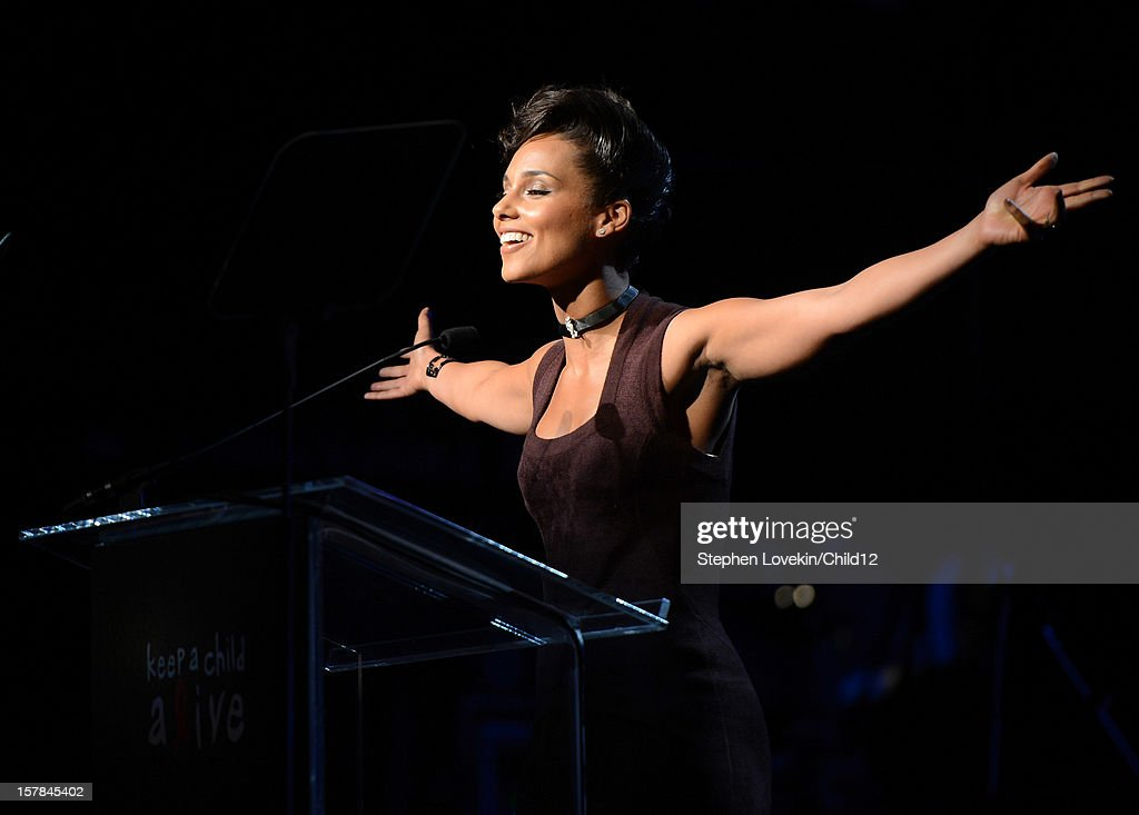 Singer <a gi-track='captionPersonalityLinkClicked' href=/galleries/search?phrase=Alicia+Keys&family=editorial&specificpeople=169877 ng-click='$event.stopPropagation()'>Alicia Keys</a> speaks on stage during Black Ball Redux at The Apollo Theater on December 6, 2012 in New York City.