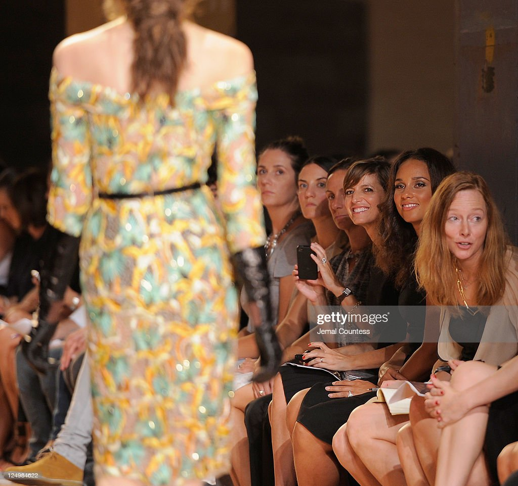 Singer <a gi-track='captionPersonalityLinkClicked' href=/galleries/search?phrase=Alicia+Keys&family=editorial&specificpeople=169877 ng-click='$event.stopPropagation()'>Alicia Keys</a> watches the Proenza Schouler Spring 2012 fashion show during Mercedes-Benz Fashion Week at 330 West St. on September 14, 2011 in New York City.