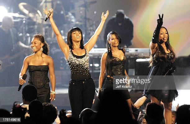 Singer Alicia Keys with members of TLC and En Vogue on stage during the 2008 BET Awards at the Shrine Auditorium on June 24 2008 in Los Angeles...