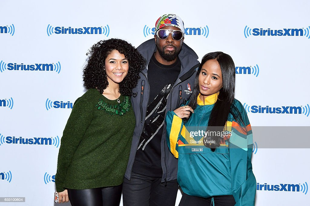 Singer Allyson Casado, rapper Wyclef Jean and singer Jazzy Amra visit SiriusXM Studios on January 30, 2017 in New York City.