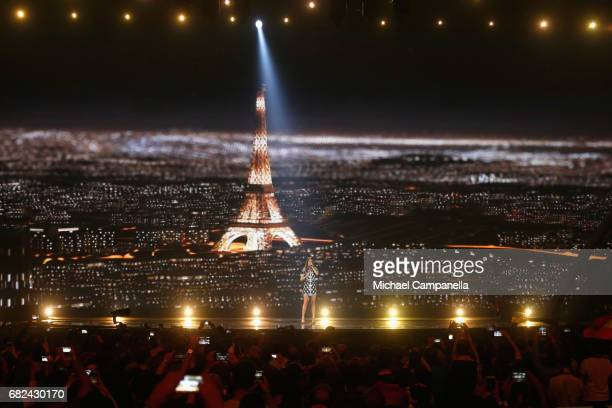 Singer Alma representing France performs the song 'Requiem' during the rehearsal for ''The final of this year's Eurovision Song Contest'' at...