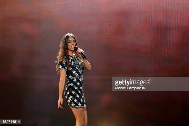 Singer Alma representing France performs the song 'Requiem' during the final of the 62nd Eurovision Song Contest at International Exhibition Centre...