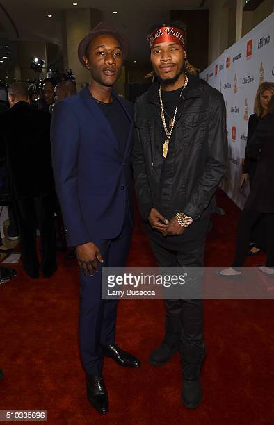 Singer Aloe Blacc and rapper Fetty Wap attend the 2016 PreGRAMMY Gala and Salute to Industry Icons honoring Irving Azoff at The Beverly Hilton Hotel...