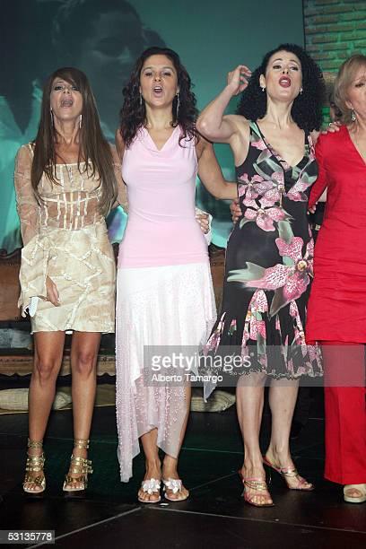 Singer Alondra actress Monika Sanchez and actress Lourdes Munguia pose at 'Encuentro Emociones' at the Mandarin Oriental Hotel on June 22 2005 in...