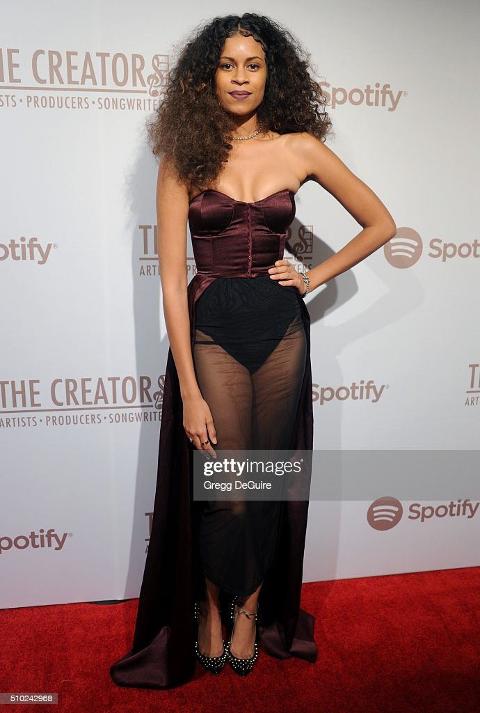 Singer <a gi-track='captionPersonalityLinkClicked' href=/galleries/search?phrase=Aluna+Francis&family=editorial&specificpeople=9571340 ng-click='$event.stopPropagation()'>Aluna Francis</a> arrives at The Creators Party Presented by Spotify, Cicada, Los Angeles at Cicada on February 13, 2016 in Los Angeles, California.