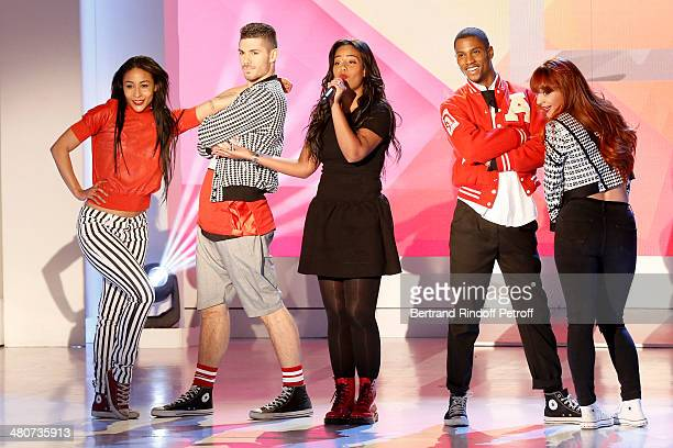 Singer Amel Bent and dancers perform on stage during the recording of television show host's Michel Drucker's 'Vivement Dimanche' weekly show at...