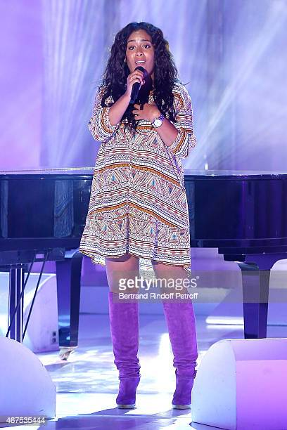 Singer Amel Bent performs during the 'Vivement Dimanche' French TV Show at Pavillon Gabriel on March 25 2015 in Paris France
