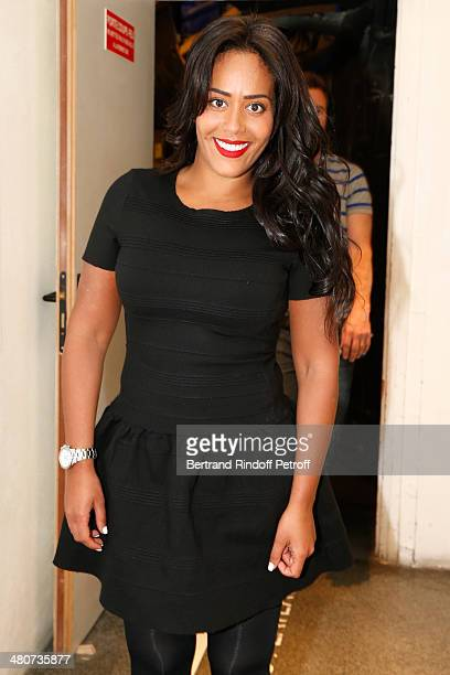 Singer Amel Bent poses backstage during the recording of Drucker's 'Vivement Dimanche' weekly show at Pavillon Gabriel on March 26 2014 in Paris...