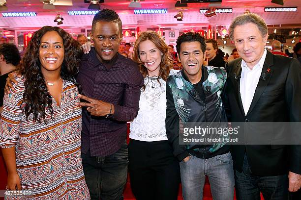 Singer Amel Bent Singer Black M Melissa Theuriau her husband Main guest of the show Humorist Jamel Debbouze and presenter of the show Michel Drucker...
