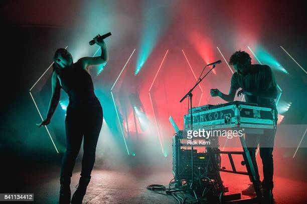 Singer Amelia Meath and producer Nick Sanborn of Sylvan Esso perform in concert at Stubb's BarBQ on August 30 2017 in Austin Texas