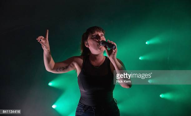 Singer Amelia Meath of Sylvan Esso performs in concert at Stubb's BarBQ on August 30 2017 in Austin Texas