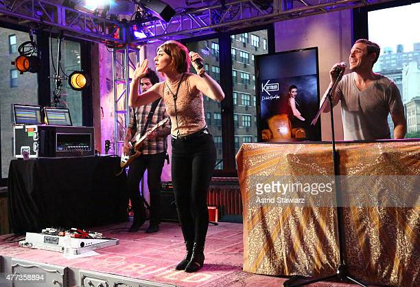 Singer Amy Heidemann and musician Nick Noonan of Karmin perform at AOL BUILD Speaker Series Karmin at AOL Studios In New York on June 16 2015 in New...