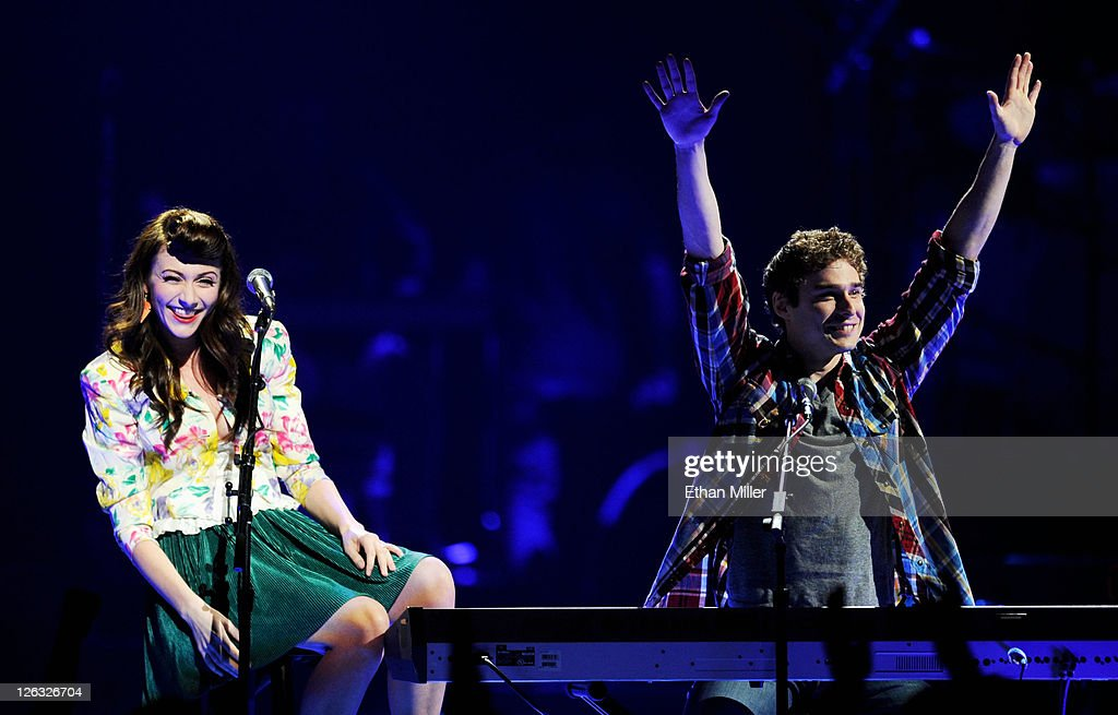 Singer Amy Heidemann (L) and musician Nick Noonan of the band Karmin perform onstage at the iHeartRadio Music Festival held at the MGM Grand Garden Arena on September 24, 2011 in Las Vegas, Nevada.