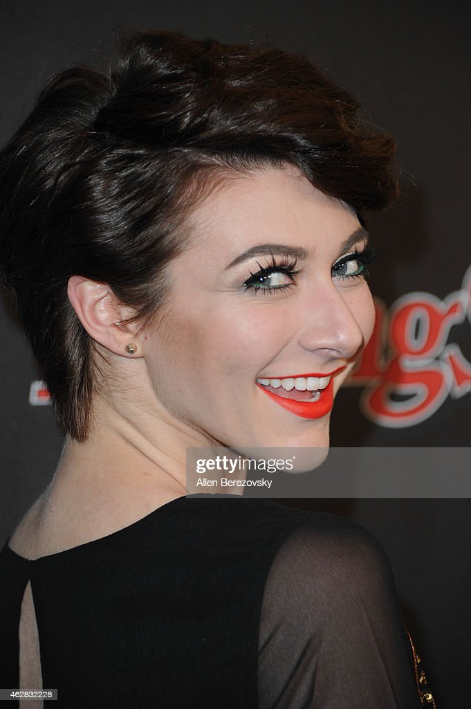 Singer Amy Heidemann of Karmin attends the Rolling Stone and Google Play GRAMMY Party at El Rey Theatre on February 5 2015 in Los Angeles California