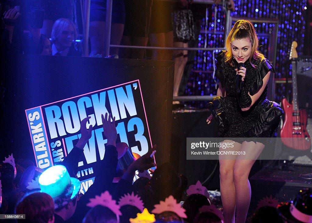 Singer Amy Heidemann of Karmin performs on Dick Clark's New Year's Rockin' Eve at CBS studios on December 31 2012 in Los Angeles California
