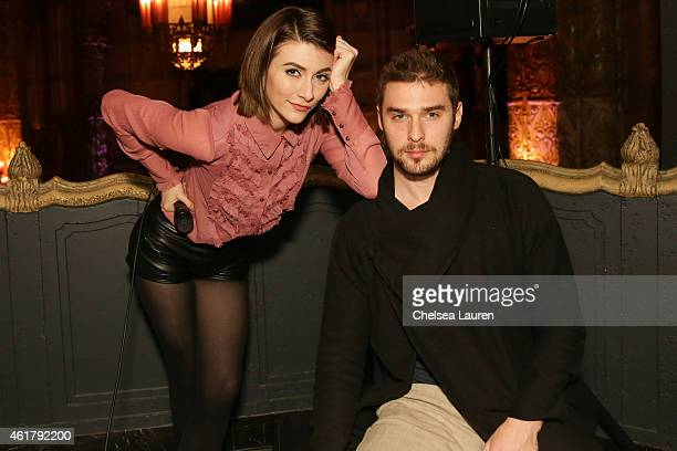 Singer Amy Renee Heidemann and musician Nick Noonan of Karmin attend NYX Cosmetics Unveiled IMATS LA 2015 on January 17 2015 in Los Angeles California