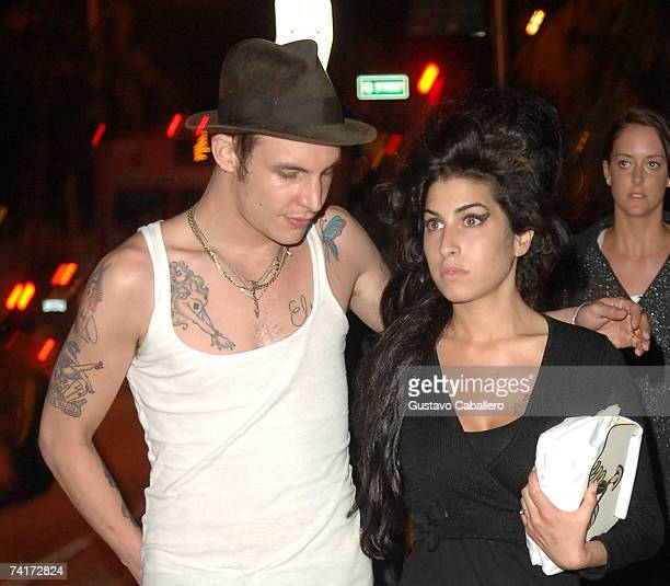 Singer Amy Winehouse and fiancee Blake FielderCivil walk on Collins Avenue on May 16 2007 in Miami Beach Florida