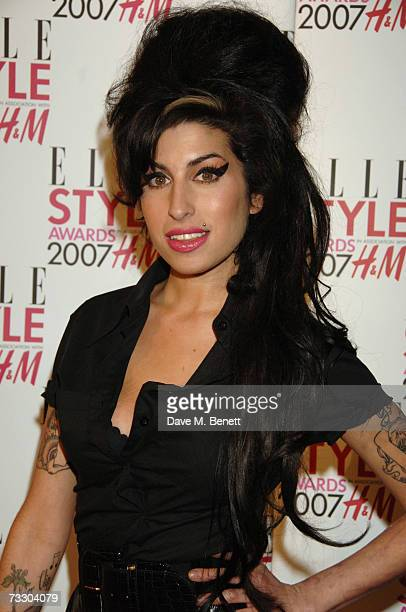 Singer Amy Winehouse arrives at the ELLE Style Awards 2007 at The Roundhouse on February 12 2007 in London England