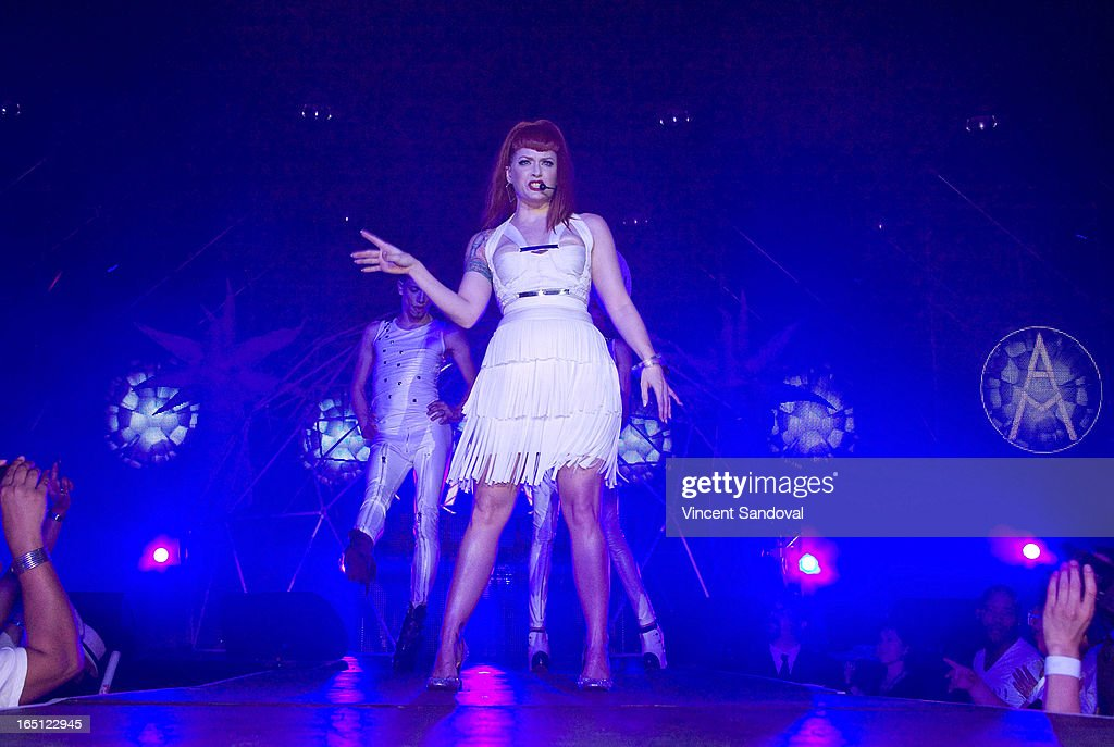 Singer Ana Matronic performs at The White Party during Jeffrey Sanker Presents White Party Palm Springs 2013 - Day 2 at the Convention Center on March 30, 2013 in Palm Springs, California.