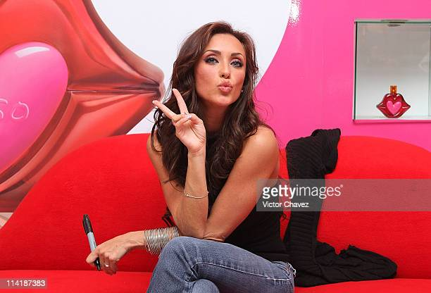 Singer Anahi attends the 'Beso' by Agatha Ruiz De la Prada fragrance launch at Sears Perisur on February 13 2011 in Mexico City Mexico