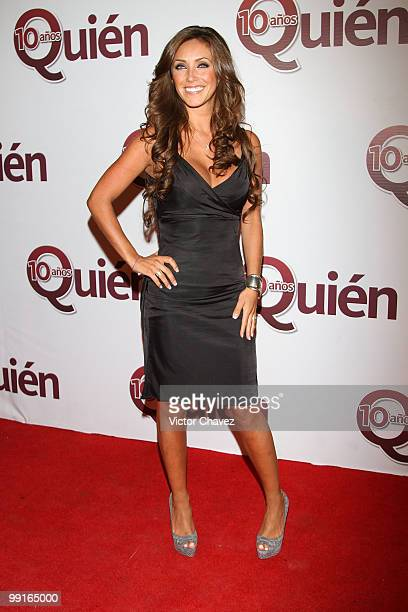 Singer Anahi attends the Quien magazine's 10th anniversary red carpet at Academia de San Carlos on May 12 2010 in Mexico City Mexico