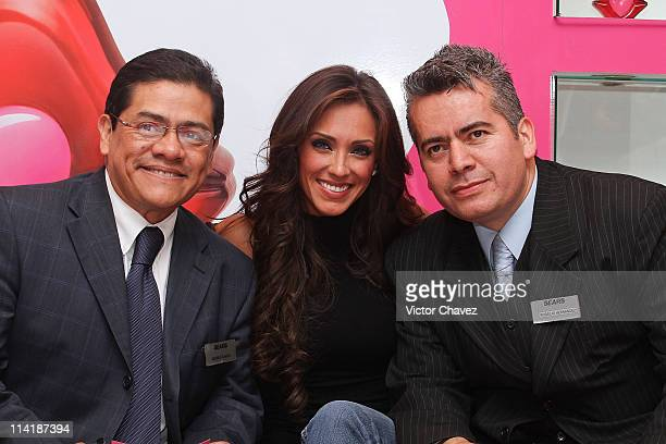 Singer Anahi poses with fans during the launch of 'Beso' by Agatha Ruiz De la Prada fragrance at Sears Perisur on February 13 2011 in Mexico City...