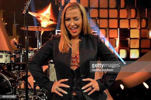 Singer Anastacia attends the first live show of 'Rising Star' at Coloneum on August 28 2014 in Cologne Germany