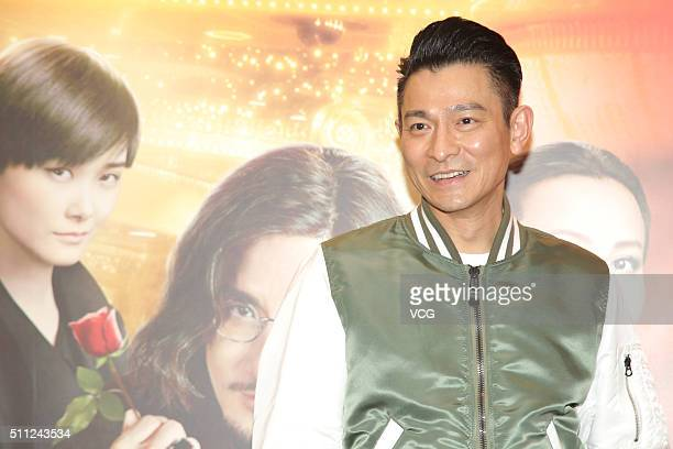 Singer and actor Andy Lau attends the Chinese New Year Dinner Party of director Wong Jing's new movie 'From Vegas To Macau III' on February 18 2016...