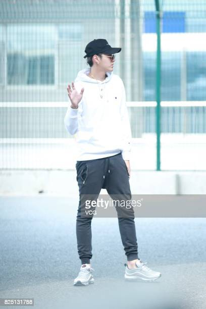 Singer and actor Kris Wu is seen at an airport on August 1 2017 in Beijing China