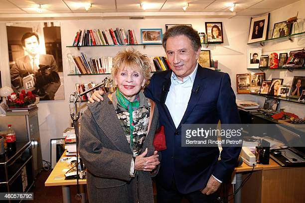 Singer and actress Annie Cordy who presents the movie 'Les souvenirs' and presenter of the show Michel Drucker attend the 'Vivement Dimanche' French...