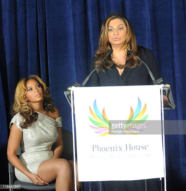 Singer and actress Beyonce Knowles and Tina Knowles attend the unveiling of the Beyonce Cosmetology Center on March 5 2010 in New York City