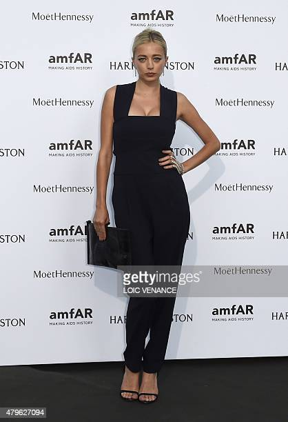 US singer and actress Caroline Vreeland arrives for the amfAR dinner on the sidelines of the Paris fashion week in Paris on July 5 2015 AFP PHOTO /...
