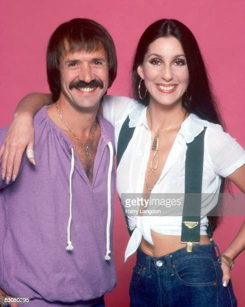 Singer and actress Cher poses with exhusband Sonny Bono for a photo session on July 22 1977 in Los Angeles California