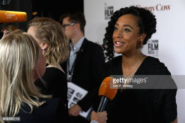 Singer and actress Corinne Bailey Rae talks to reporter as she attends the World Premiere of 'Funny Cow' during the 61st BFI London Film Festival on...