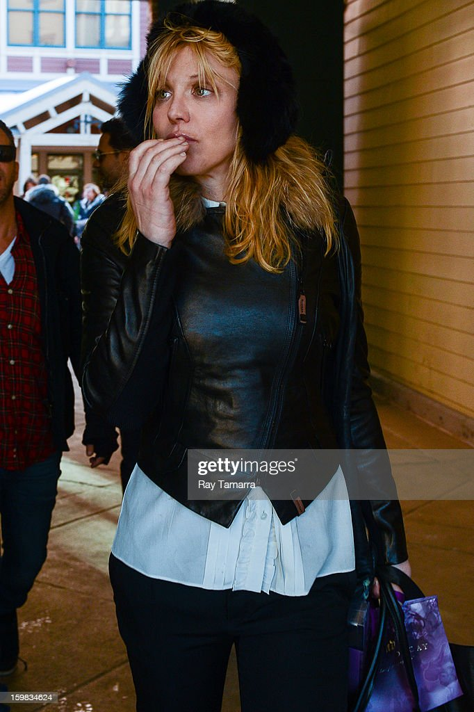 Singer and actress Courtney Love leaves the AP portrait studio on January 20, 2013 in Park City, Utah.