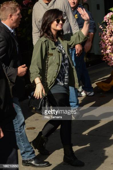 Singer and actress Demi Lovato leaves the 'Good Morning America' taping at the ABC Times Square Studios on April 10 2013 in New York City