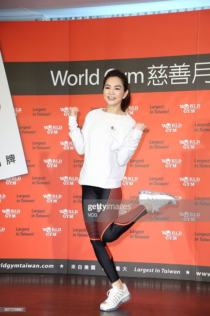 Singer and actress <a gi-track='captionPersonalityLinkClicked' href=/galleries/search?phrase=Ella+Chen&family=editorial&specificpeople=4386724 ng-click='$event.stopPropagation()'>Ella Chen</a> attends charity activity of World Gym on January 28, 2016 in Taipei, Taiwan of China.