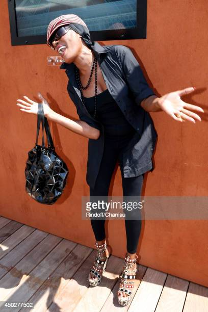 Singer and actress Grace Jones attends the Men's Final of Roland Garros French Tennis Open 2014 Day 15 on June 8 2014 in Paris France