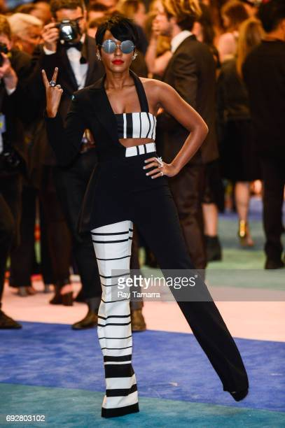 Singer and actress Janelle Monae enters the CFDA Fashion Awards at Hammerstein Ballroom on June 5 2017 in New York City