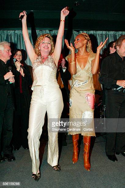Singer and actress Jeane Manson and choreographer Mia Frye perform during the Bordeaux wine presentation at Pavillon Gabriel in Paris
